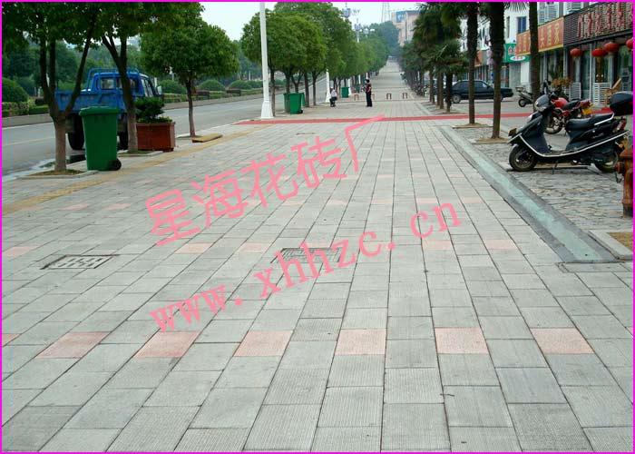 条纹砖人行道铺设效果图